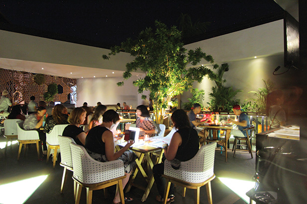 Upstairs dining Dining under the stars in the garden setting is also a popular choice